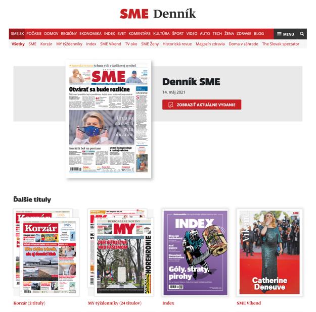Portál s elektronickými verziami printových produktov dennik.sme.sk.