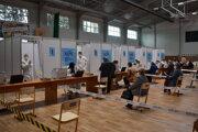 Veľkokapacitné očkovacie centrum v Michlaovciach.