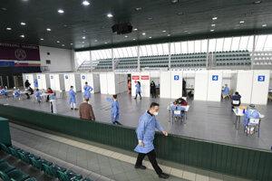 Veľkokapacitné očkovacie centrum v Prešove.