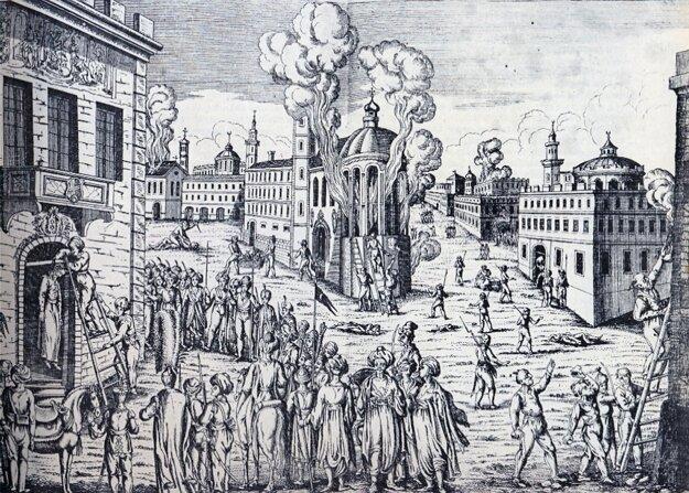 Násilnosti na gréckom obyvateľstve v Istanbule krátko po vypuknutí povstania.