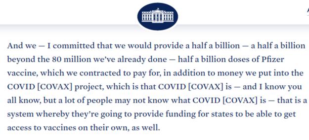 Prepis Bidenovho prejavu na stránkach Bieleho domu.