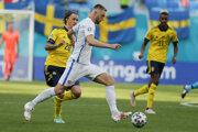 Milan Škriniar v zápase Slovensko - Švédsko na ME vo futbale (EURO 2020 / 2021).