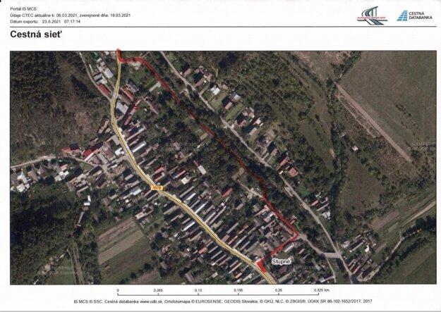 Obchádzková trasa v obci Stupné