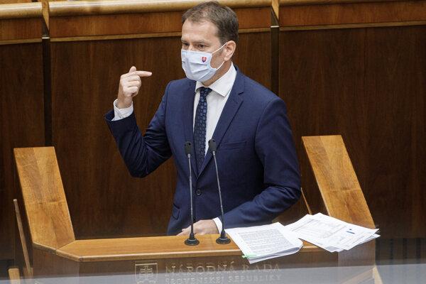 Igor Matovič počas svojej obhajoby v parlamente.