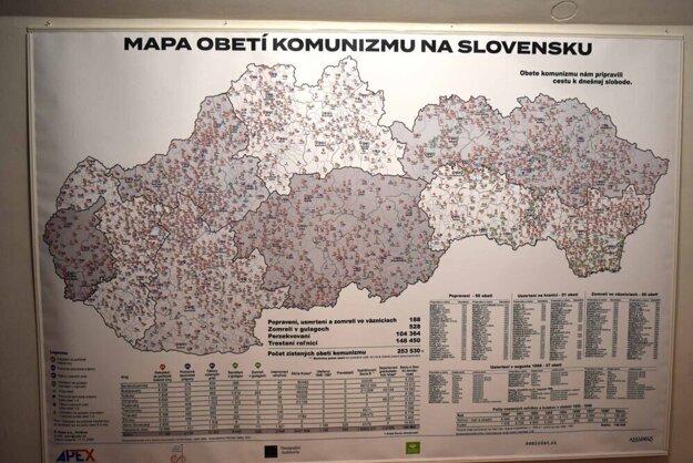 Interaktívna mapa obetí komunizmu. Dajú sa v nej vyhľadávať obce, mená obetí aj základné údaje o odsúdení či iných prenasledovaniach.