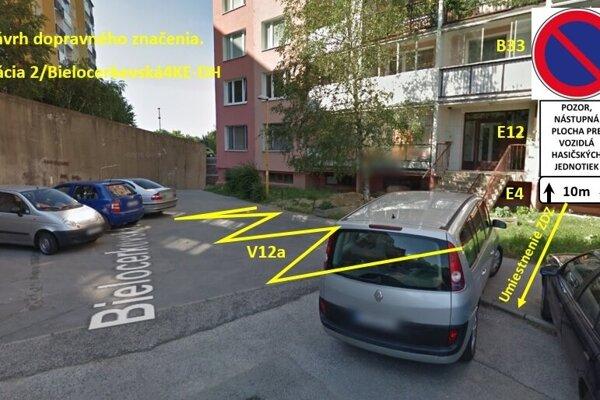 Návrh riešenia na Bielocerkevskej ulici.