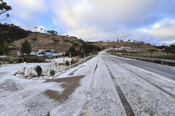 São Joaquim,obec v štáte Santa Catarina ležiaca na juhu Brazílie, pokryl sneh.