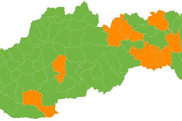 Rozdelenie okresov podľa covid automatu od 30. augusta.