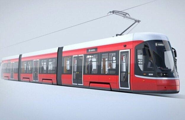 Vizualizácia vysúťaženej električky Škoda ForCity Smart pre Brno.