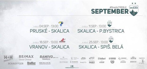 Program skalických hokejbalistov na september.