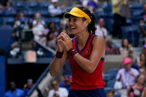 Emma Raducanuová na US Open 2021.