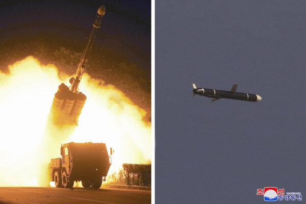 Odpálenie a let rakety severekórejskej armády.
