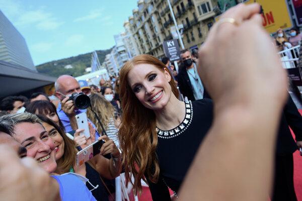 Jessica Chastain, jedna z dvoch ocenených herečiek na festivale v San Sebastiáne.