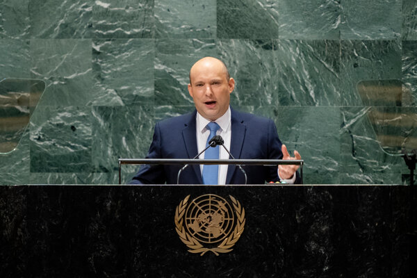 Izraelský premiér Naftali Bennett na zhromaždení OSN.