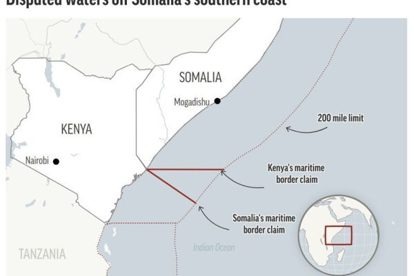 Mapa sporného námorného územia medzi Somálskom a Keňou.