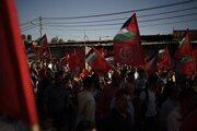 Na snímke z 2. júla 2021 protestné zhromaždenie v Gaze zorganizované Ľudovým frontom za oslobodenie Palestíny. Izrael ho považuje za teroristickú organizáciu a najnovšie zo spolupráce s frontom obviňuje aj ďalšie organizácie.
