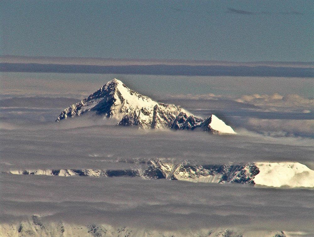Letecký záber na Mount Everest.