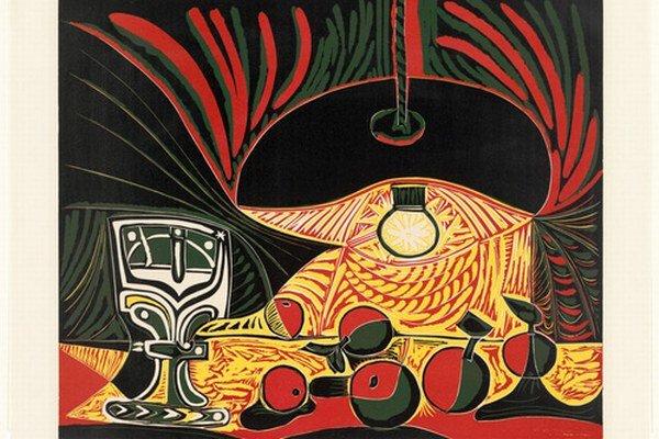 Pablo Picasso: Zátišie pod lampou, linoryt, 1962.