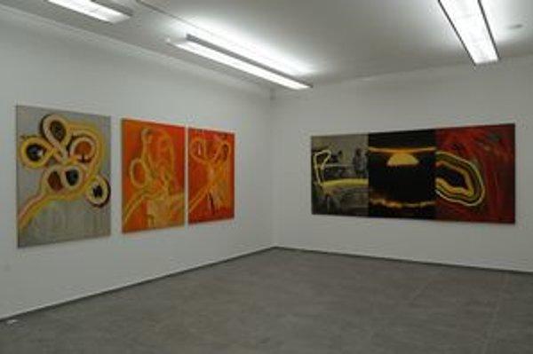 Z výstavy Rudolfa Filu Obrazy (maľby a premaľby) v Galérii 19 v Bratislave.
