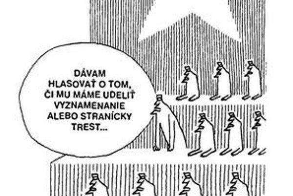 Túto Zábranského karikatúru uverejnil Roháč v lete 1968.