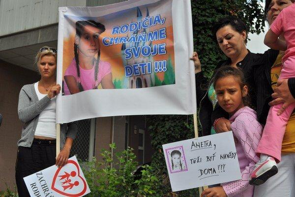 Protestu sa zúčastnila aj malá Anetka.