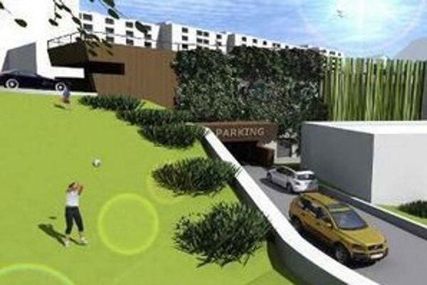 Vizualizácia parkovacieho domu Na hlinách.