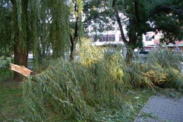 Polámané stromy aj spadnuté elektrické drôty museli v noci odstraňovať hasiči v celom regióne.