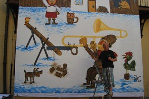Vladimír Pavlík nakreslil za osem hodín najväčšiu karikatúru na Slovensku