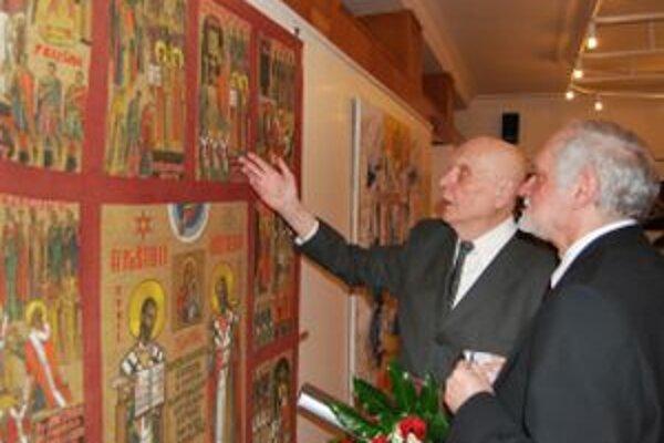 Mikuláš Klimčák rozpráva príbeh obrazu Apoštoli-Učitelia národov slovanských maliarovi Jánovi Mikuškovi