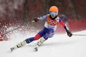 Na trati obrovského slalomu v Soči Vanessa Mae.