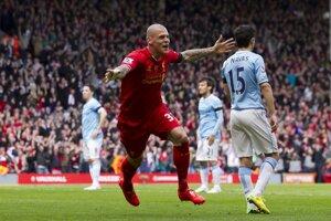 Druhý gól Liverpoolu do siete Manchesteru City strelil <br>Martin Škrtel.