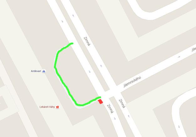 Je časť cesty vyznačená zelenou farbou cestou alebo miestom mimo cesty?