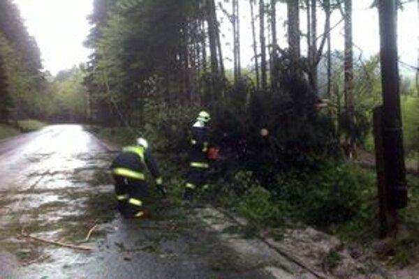 Hasiči z Turzovky zasahovali dnes ráno na horskom priechode Makov - Bumbálka, kde na cestu spadli tri stromy.