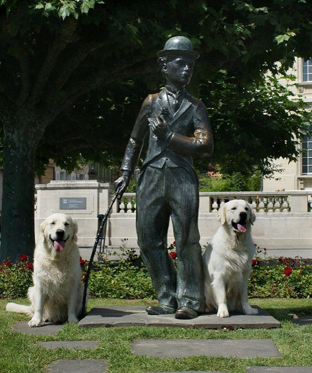 Socha Charlieho Chaplina na nábrežnej promenáde v Corsier-sur-Vevey.