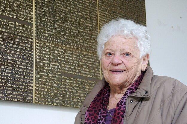 87-ročná Veronika Schlesingerová, ktorá ako jediná žijúca Trenčianka prežila holokaust v koncentračnom tábore v Osvienčime.