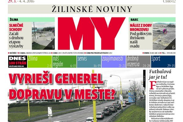 Titulka aktuálneho čísla týždenníka MY Žilinské noviny.