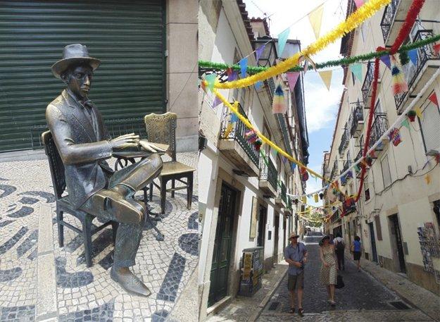 Socha Fernanda Pessoa v uličkách Lisabonu je obľúbeným miestom pre fotografovanie.