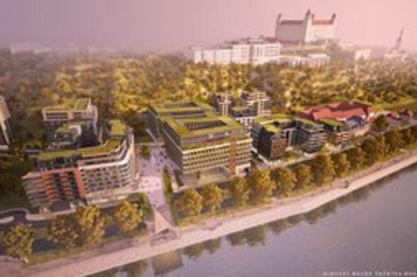 Letecký pohľad na novú výstavbu s Hradom.