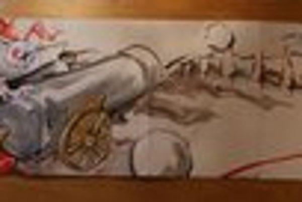 Návrh graffiti s napoleonskou témou.