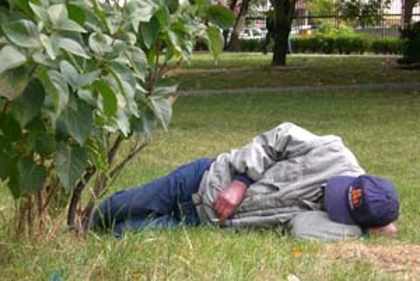Odpočívajúci bezdomovec v parku na Miletičke.