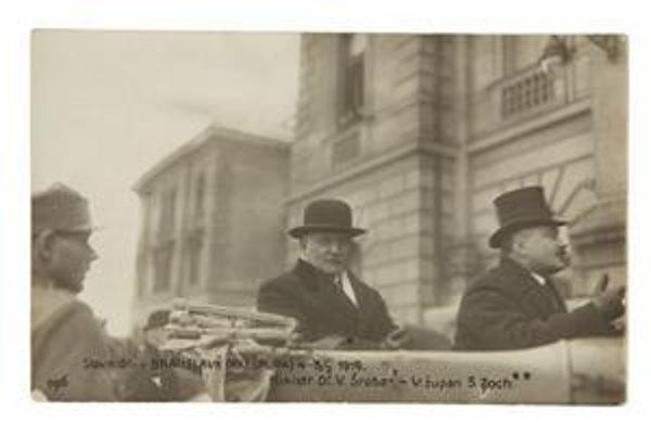Minister Vavro Šrobár a župan Samuel Zoch v marci 1919 v Bratislave.