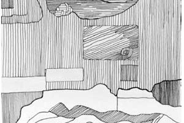 Rudolf Sikora: Kamenná krajina (1968, 45,8 x 24,4 cm, tuš).