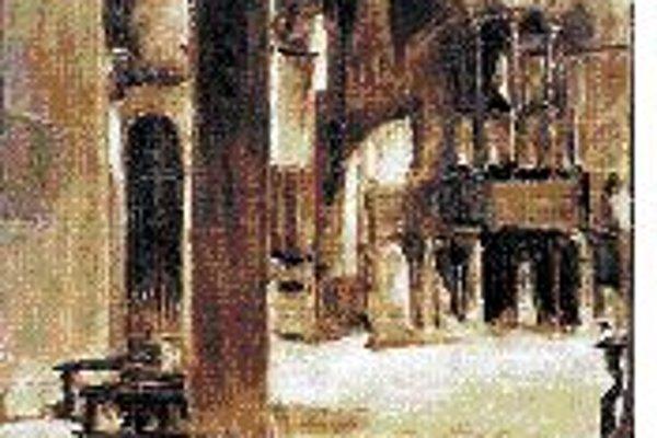 Na snímke je olejomaľba Jozefa Kollára Vnútro kostola v Benátkach (1931).