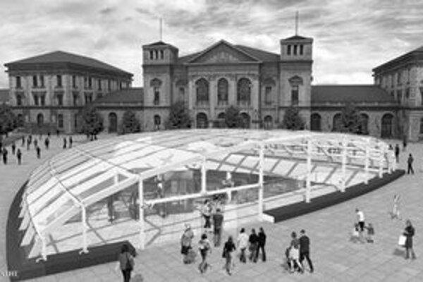 Nový vzhľad priestoru pred hlavnou železničnou stanicou po plánovanej prestavbe vrátane kupoly novej staničnej haly. VIZUALIZÁCIA – IPR