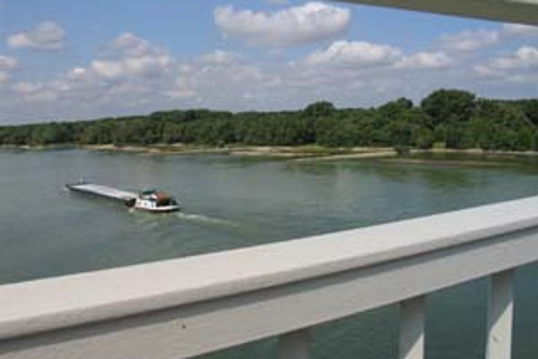 Pohľad na lužný les a pláže pri Dunaji z hainburského mosta.