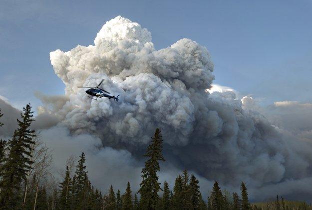 Lesný požiar v kanadskej Alberte.