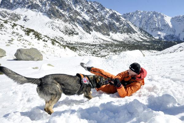 Členovia Horskej záchrannej služby pri nácviku záchrany v priestore zasiahnutom lavínou.