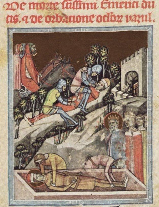 Smrť Imricha, ktorého roztrhali diviaky a vypichnutie očí Vazulovi. Ilustrácia pochádza z Viedenskej obrázkovej kroniky zo 14. storočia.