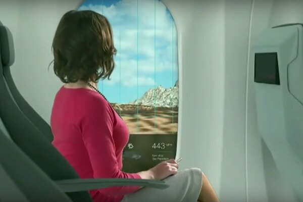 Okná vo vlaku Hyperloop budú ponúkať rozšírenú realitu.