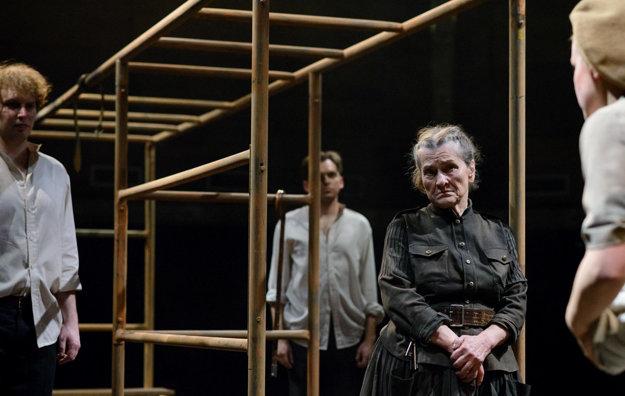 Inscenácia Veľký zošit v nitrianskom divadle Andreja Bagara v hlavnej úlohe s výbornou Žofiou Martišovou.